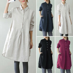 ZANZEA-AU-10-24-Women-Long-Sleeve-Tunic-Top-Blouse-Shirt-Plus-Size-Cotton-Dress