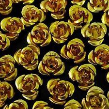 50x Gold Vintage Rose Loose Beads Flower DIY Jewelry Findings Scaft- 8mm