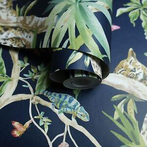 Holden-90690-Jungle-Animaux-Papier-Peint-en-Marine-Tropical-Oiseaux-Reptiles