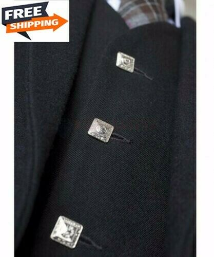 Scottish HandmadeArgyle kilt Jacket & Waistcoat Highland Jacket (Small To 3XL)