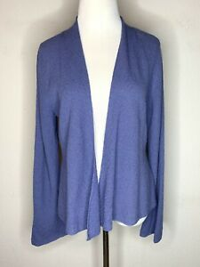 Eileen-Fisher-Women-s-Cardigan-Sweater-Italian-Wool-Open-Front-Knit-Purple-Sz-M