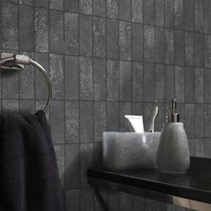 Tile-Effect-Wallpaper-Kitchen-Bathroom-Brick-Slate-Embossed-Vinyl-Black-Holden