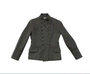 SANDRO-80-Laine-amp-Cachemire-Manteau-Officier-Caban-t-40-L-wool-cashmere-coat