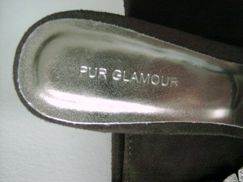 Unikat von PUR GLAMOUR Gr. Mule Pumps grau hellgrau Gr. GLAMOUR 38 Wildleder Grau Pantolette 35b321