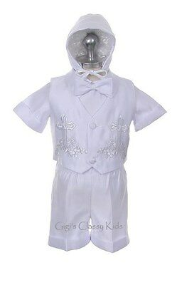 New Baby Boy Toddler Christening Baptsim Suit Gown XS-4T New born-4 years old