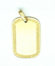 9ct Yellow Gold Dog Tag  Pendant with Greek Key Design Border               2791