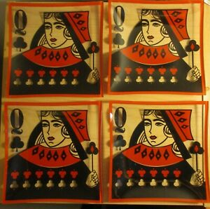 Vintage-glass-dessert-horderves-set-of-4-plates-Queen-of-clubs-mint-condition