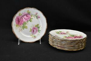 Royal-Albert-American-Beauty-Set-of-10-Bread-amp-Butter-Plates