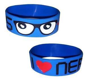 Cosmic-I-Love-Nerds-Glasses-3-Blue-Funny-Cute-Wristband-Rubber-Wristcuff