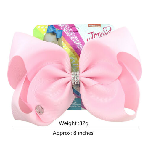 Pure Color JoJo Siwa Hair Bow With Clip Girl Kids Bowknot  8 inch