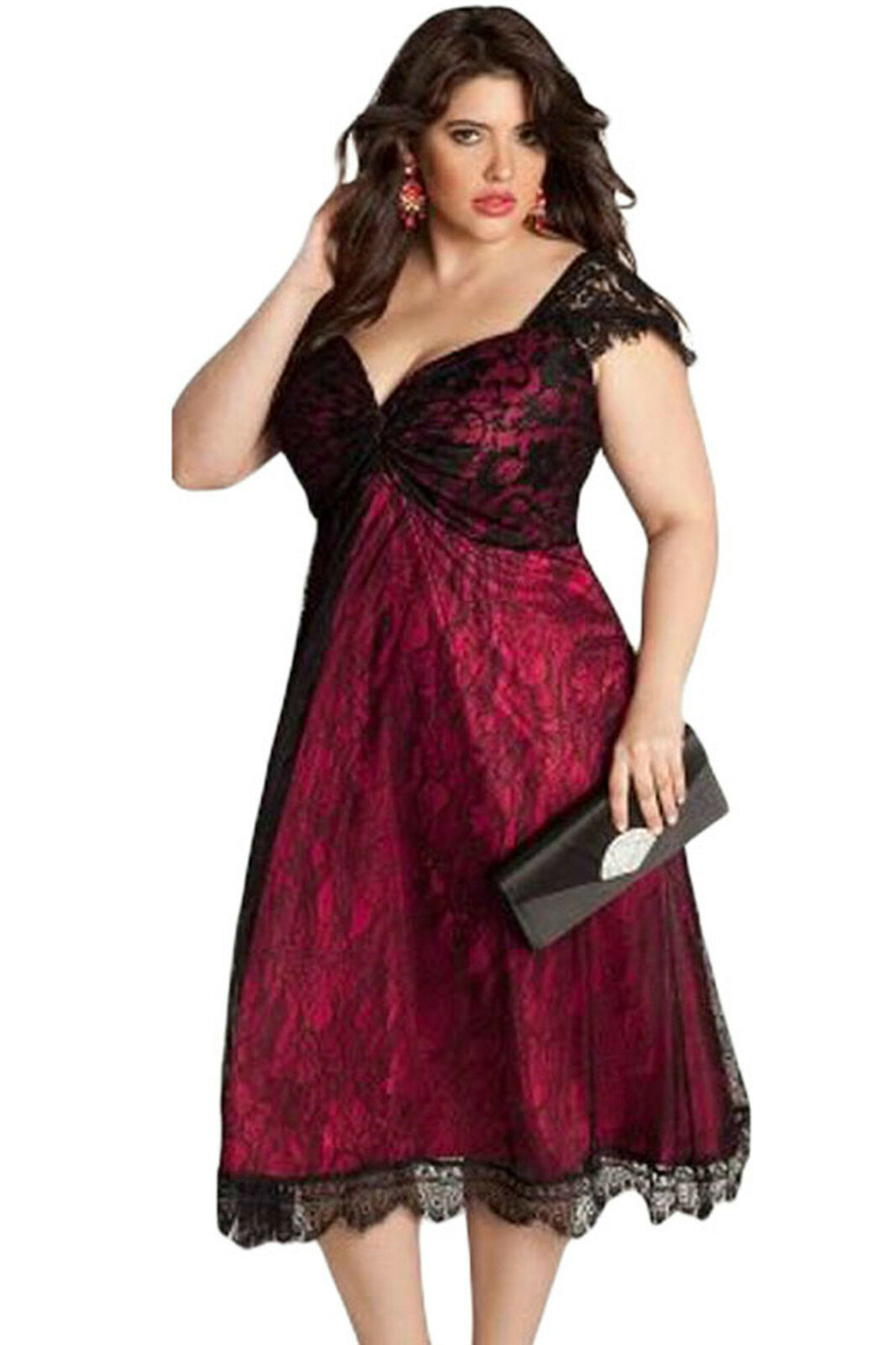 Abito ricamo Pizzo Taglie forti Grandi Curvy Formosa Plus Size Lace Dress XL