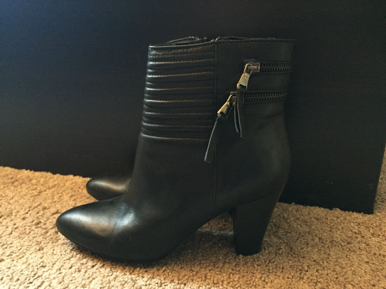 Black leather booties silver hdw size 8