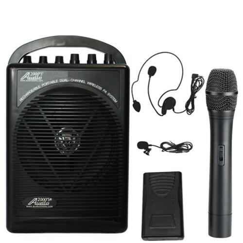 Audio2000/'S 604B Wireless Microphone Battery Powered Portable PA System COMBO-MR