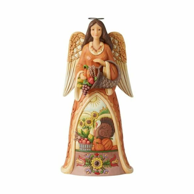 Jim Shore GIVE YOUR WHOLE HEART-GOLDEN GARLAND ANGEL WITH HEART FIGURINE 4058761