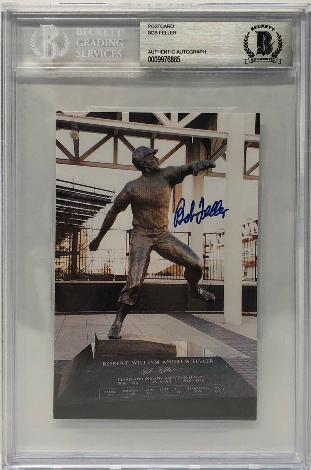 Bob Feller Signed B. Feller Commemorative Indians Statue Postcard BAS BEckett