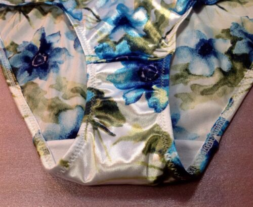 "Women Vintage Panties,Bikinis/""Ilusion/""Size XL Satin SoftSilky FloralW//Decoration"