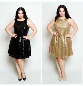 Details about PLUS SIZE BLACK GOLD SLEEVELESS TIE BACK SEQUIN PRINCESS  SKATER DRESS 1X 2X 3X