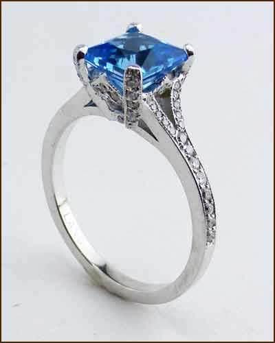 Richard Landi Platinum Swiss blueee Topaz and Diamond Designer Ring - NEW -  4,300