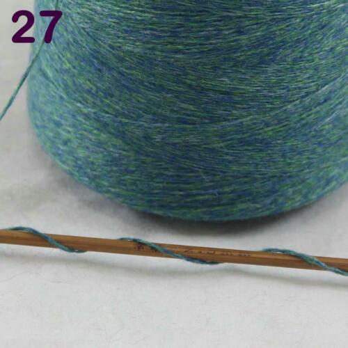 Cono de 100g de venta 100/% Cachemir Mano Tejer Crochet Hilo Bufanda Envolvente Verde Celta