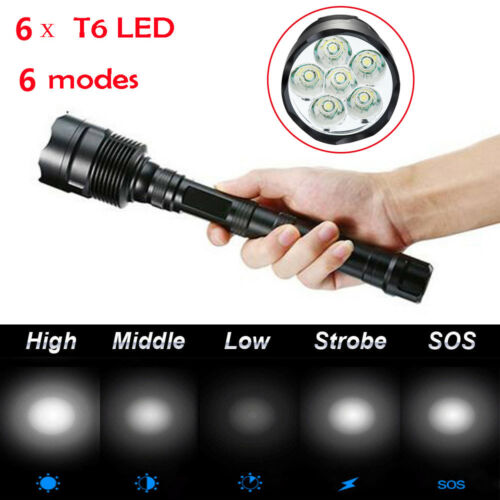 Tactical 160000lm 3-16x T6 LED Flashlight 5-Mode 18650 Torch Lamp Bright Light.