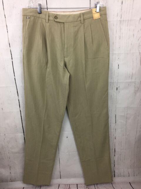 94aea298934 Tommy Bahama Flying Fishbone Silk Blend Pants Size 35 Khaki Unhemmed Pleated