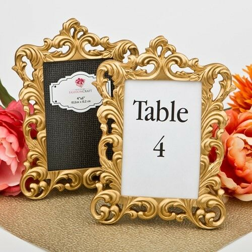 20 Gold Vintage Baroque Table Frames Wedding Bridal Baby Shower Party Favors