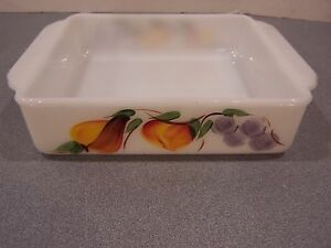 """Fire King Gay Fad Fruit 8 x8"""" square glass baking pan dish hand painted brownie"""