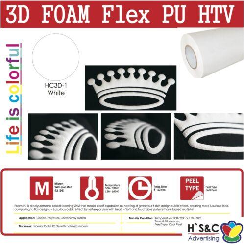 "3D FOAM PU Heat Transfer Vinyl 20/""x1-5 Ft Puffy Effect Iron-On Korean Quality"