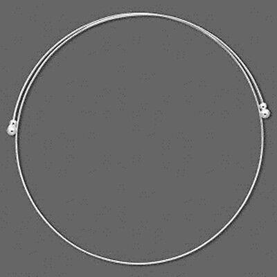 "Gunmetal Plated Rigid Open Collar 15/"" Choker Flat Wavy Neckwire"
