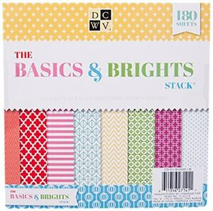 """American Crafts DCWV 8"""" x 8"""" Basics Bright Cardstock Stack Patterned Paper Sheet"""