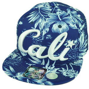 179bfc5b42960 Cali California All Over Hawaiian Floral Hat Cap Nylon Snapback Blue ...