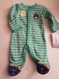 989d41887532 Preemie baby boy footie Carter s with a little monster art on the ...