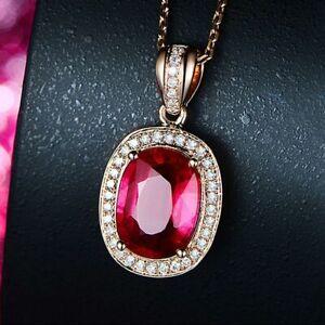 Luxus-925-Silber-Halskette-Rose-Gold-Rubin-Edelstein-Anhaenger-Damen-Schmuck-NEU