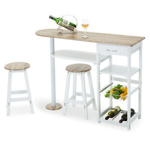 Oak White Kitchen Island Cart Trolley Dining Table Storage