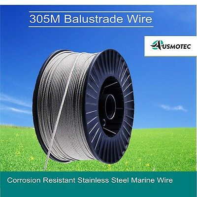 New 305M Balustrade Wire Cable Marine Stainless Steel Rope Decking 7x7 3.2mm