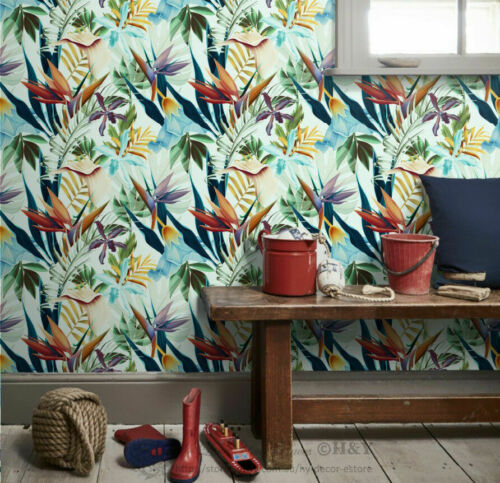 Tropical Flowers Wall Paper Removable Mural Coverings Wallpaper Art Decor Gift