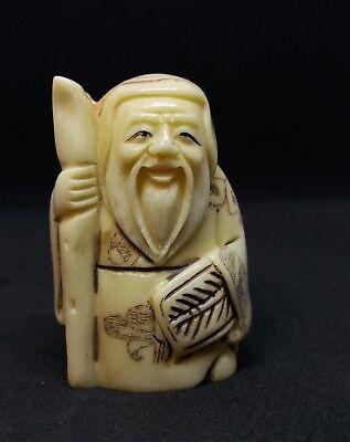 Vintage Okimono Hand Carved Cattle Bone Netsuke Man With Branch Ebay