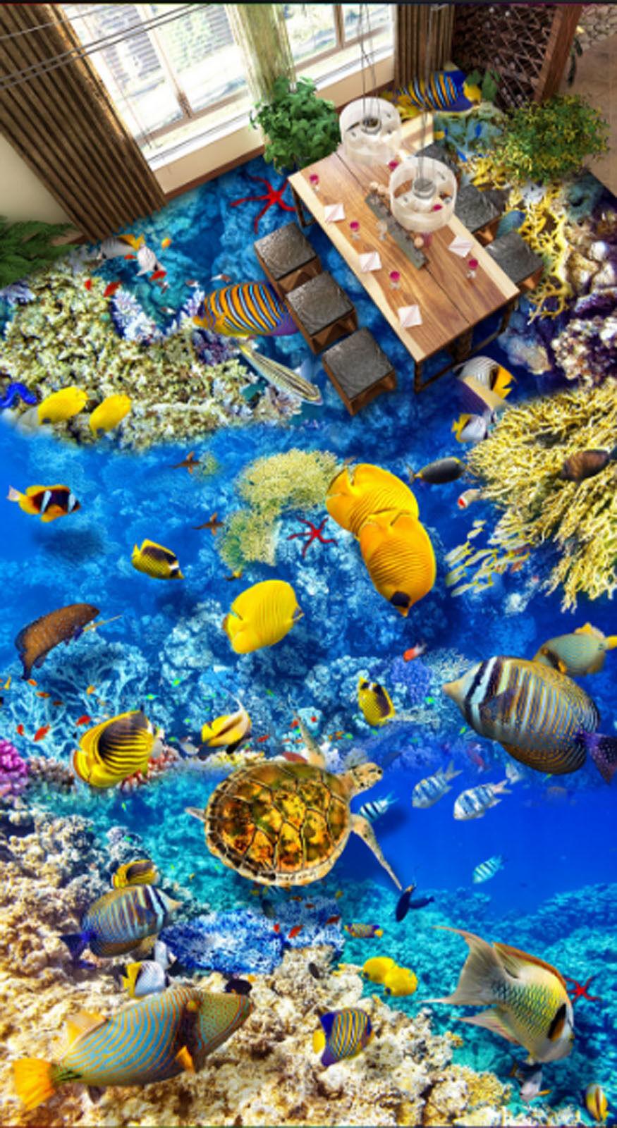 3D Ocean Fish 4257 Floor WallPaper Murals Wallpaper Mural Print AJ AU Lemon