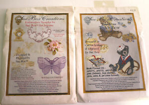 Lot-of-2-Sue-Box-Creations-Machine-Embroidery-CDs-Teddy-Bears-and-Sampler