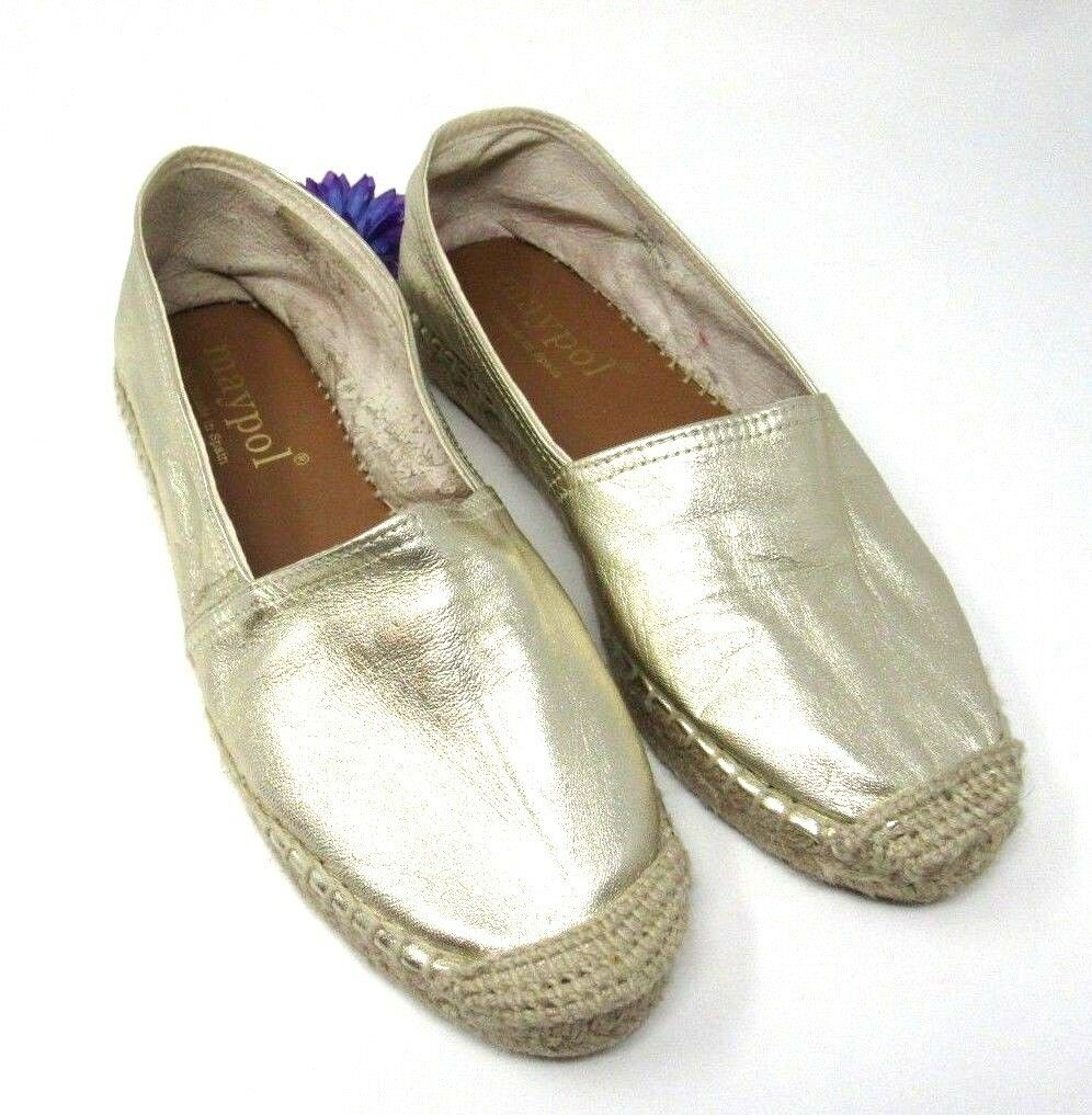 Anthropologie Maypol Sacha Espadrille Flats gold Leather Upper 38, Pre-Owned