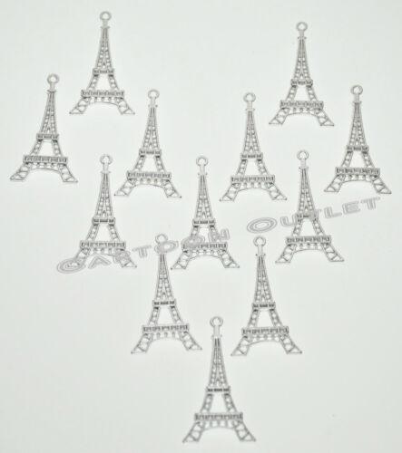 EIFFEL TOWER CHARM SILVER PARTY FAVORS FOR BRACELETS NECKLACE ETC 10 20 50 PC