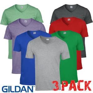 3-x-GILDAN-Uomo-T-shirt-con-scollo-a-V-morbido-cotone-palestra-Estate-Tshirts-Top-Confezione-Da-3