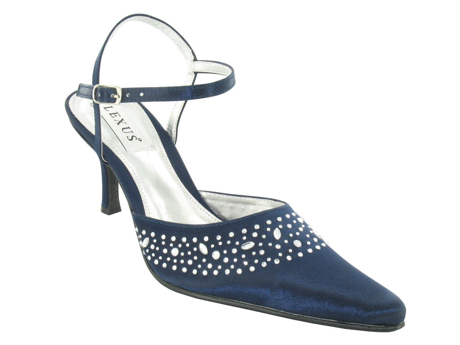 Ladies closed-toe shoe, heatseal diamantes- Light Grey Silver, Navy, Plum, Taupe