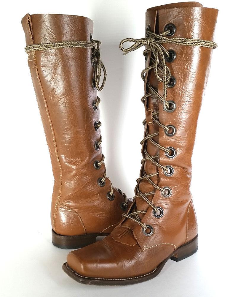 JOHN FLUEVOG damen Stiefel Größe Größe Größe 7 braun Leather Lace Up Square Toe PRIMO SZ 7 c706a4
