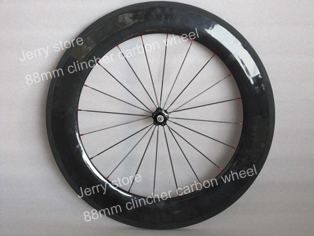 88mm clincher bike wheels full carbon fiber 700C wheels,front only 25mm width