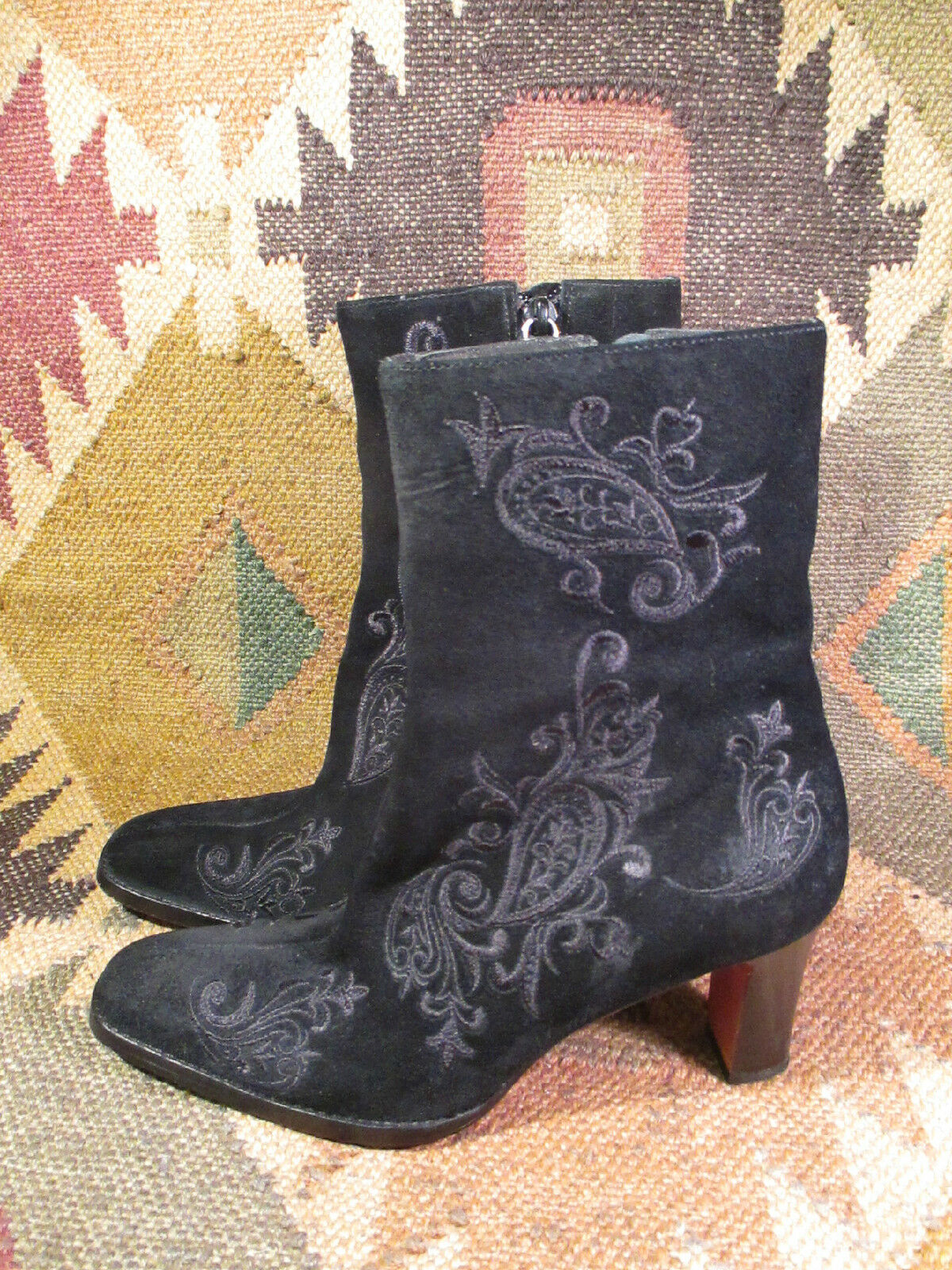 RALPH LAUREN CORINA EMBROIDERY BLACK SUEDE ANKLE BOOTS BOOTS BOOTS  size 5B made in BRAZIL 78ac7a