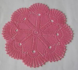 """New Hand Crocheted Doily French Rose Dark Pink 13"""" round Handmade"""