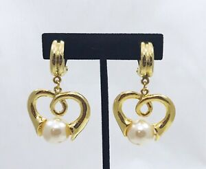 Vintage-80s-Fashion-Bella-Clip-On-Heart-Dangle-Earring-With-Pearl-NWT
