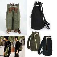 Unisex Vintage Outdoor Canvas Backpack Shoulder Sports Bucket Drawstring Bag
