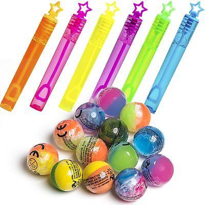 Tubi Di Bolle Per Bambini 6 & 6 Palline Rimbalzante Bambini Bottino Party Bag Filler Favori-